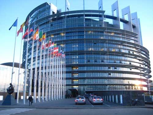 O Parlamento Europeu, Estrasburgo, edifício Louise Weiss