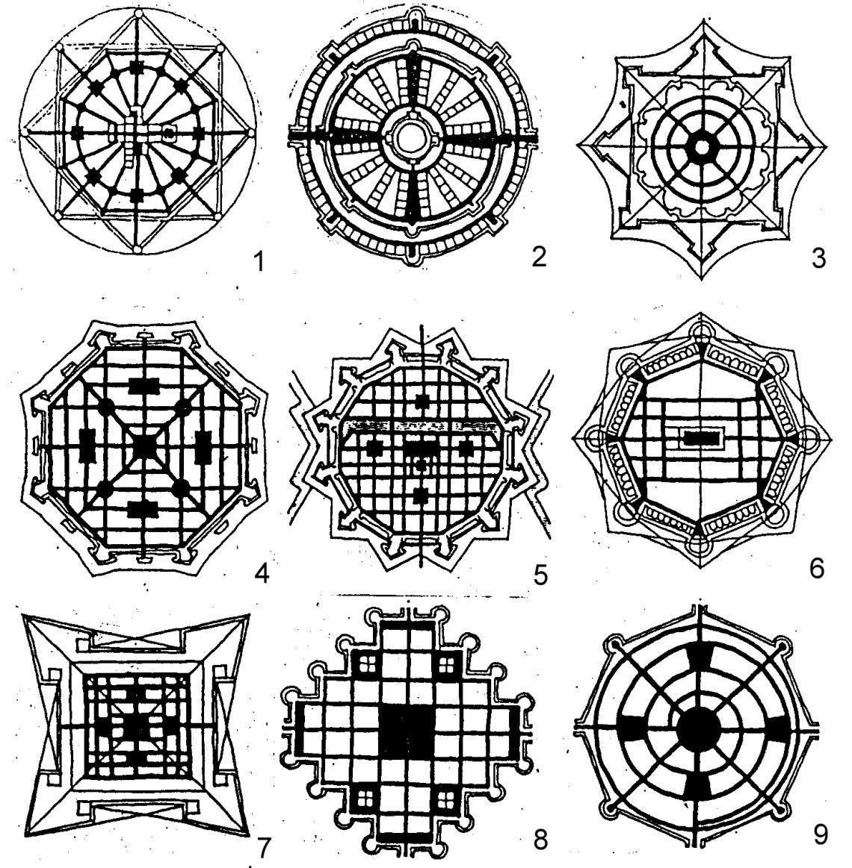 Diferentes concepções Renascentistas da cidade ideal: 1. La Sforzinda by Filarete (1460 – 1465); 2. Fra Giocondo (Giovanni of Verona), c. 1433 - 1515 ; 3. Girolamo Magi (or Maggi) (c. 1523 – c. 1572) (1564); 4. Giorgio Vasari (1598); 5. Antonio Lupicini (c. 1530 – c. 1598); 6. Daniele Barbaro (1513 – 1570); 7. Pietro Cattaneo (1537 – 1587); 8/9; Francesco di Giorgio Martini (1439 – 1502).