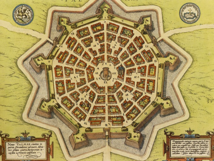 Um mapa da cidade de Palmanova, cidade projectada por Vincenzo Scamozzi