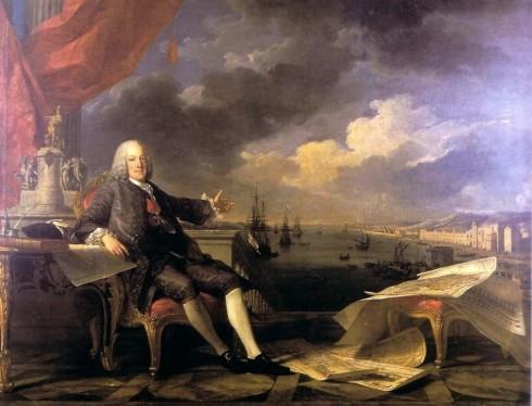 Marquês de Pombal Expulsa os Jesuitas de Portugal (van Loo e Vernet, 1766).