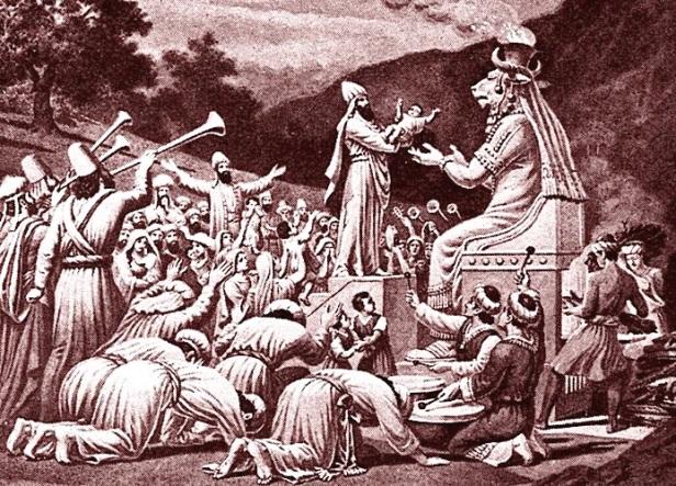 Padres Cananitas oferecem uma criança em sacrifício a Moloch, o Abominável