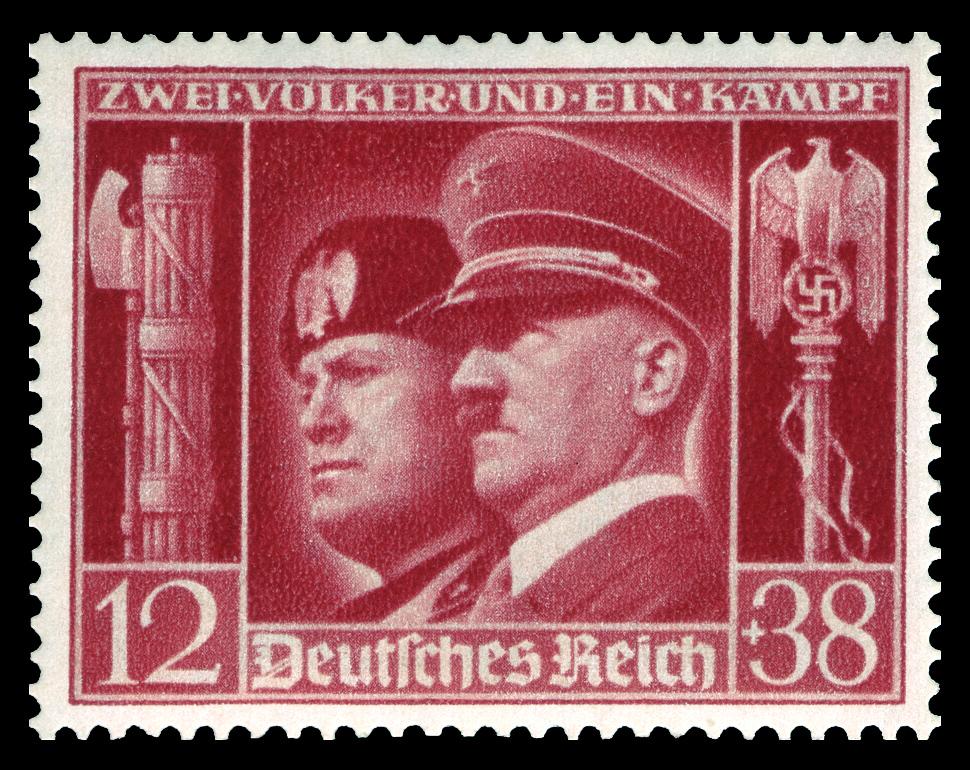 Um selo com Hitler e Mussolini. À esquerda, o Fascio, à direita, a Águia Romana, com a Suástica e o ceptro de poder.