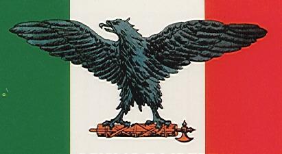 A bandeira Italiana com a Águia Romana e o Fascio