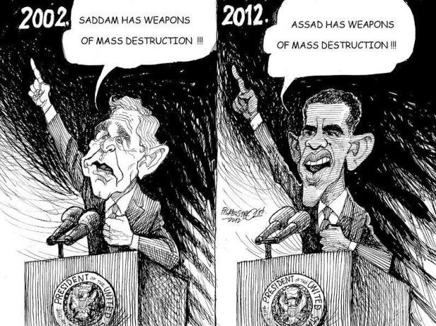 """Bush (2002)- """"O Saddam tem armas de destruição maciça!"""", Obama (2012)- """"O Assad tem armas de destruição maciça!"""" Mesmos pretextos, mesmos objectivos."""