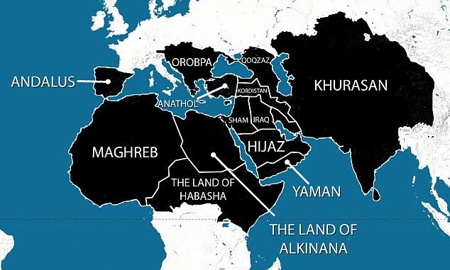 O mapa que alegadamente mostra os planos de expansão do EI